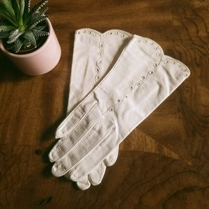 Vintage 40s ladies Bacmo white leather gloves M S